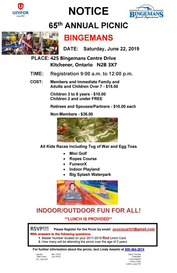 Bingemans Kitchener Picnic Notice June 22 2019