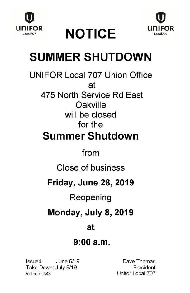 Summer Shutdown July 2019
