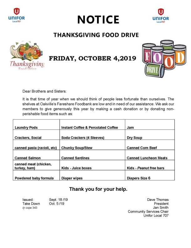 Food Drive - Thanksgiving - Friday October 4, 2019