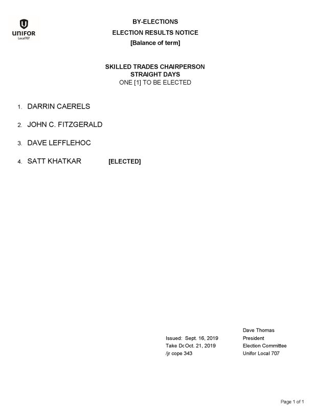 Sept 2019 Election Results Notice By-Election Skilled Trades Chairperson