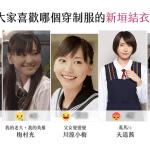 粉絲專頁投票「大家喜歡哪個穿制服的新垣結衣呢?」結果