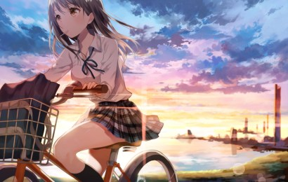 制服女孩與自行車