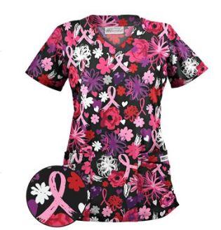 UA Painted Pink Ribbons Black Print Scrub Top