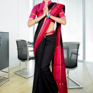 Black-with-pink-border-uniform-saree-253