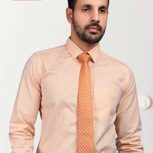 Orange-Stripe-Office-Uniform-Men's-Readymade-Shirt-KP-89908