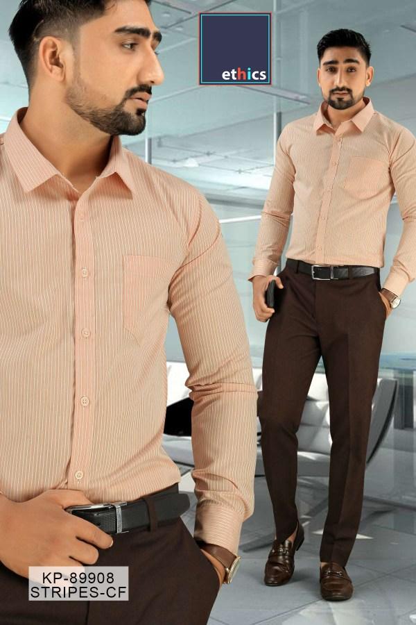 Orange-Stripe-Office-Uniform-Men's-Readymade-Shirt-Trousers-Set-KP-89908-1