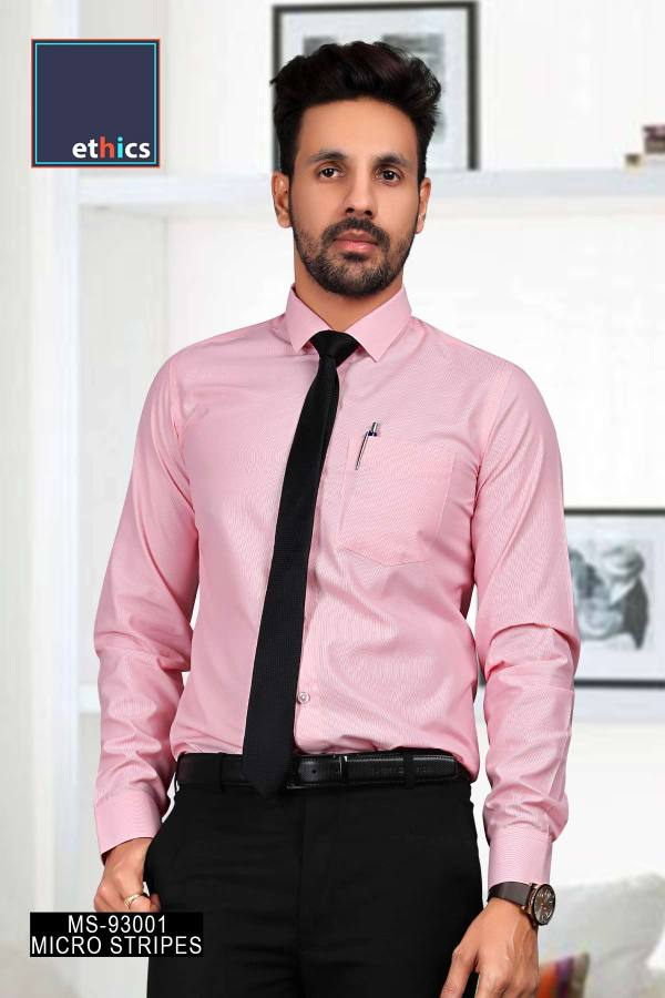 Pink-Micro-Stripes-Mens-Uniform-Shirts-for-Corporate-Office-MS-93001