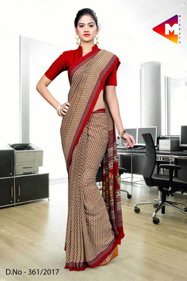 Red and brown green Georgette Uniform Saree-361-17