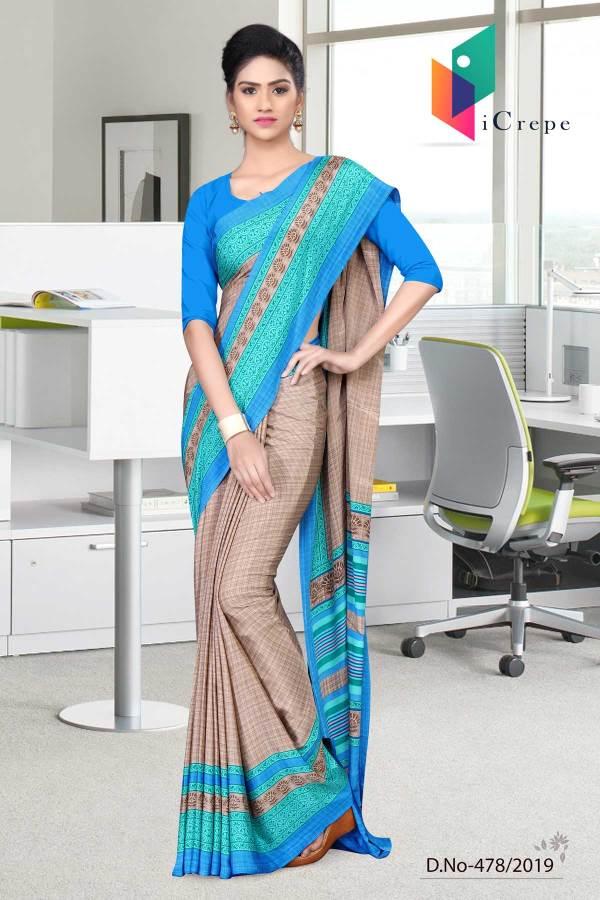 beige-and-blue-italian-crepe-silk-air-hostesuniform-saree-478