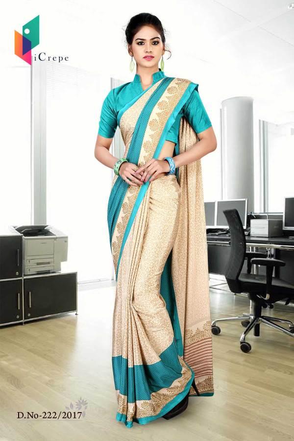 beige-and-blue-italian-crepe-uniform-saree-222