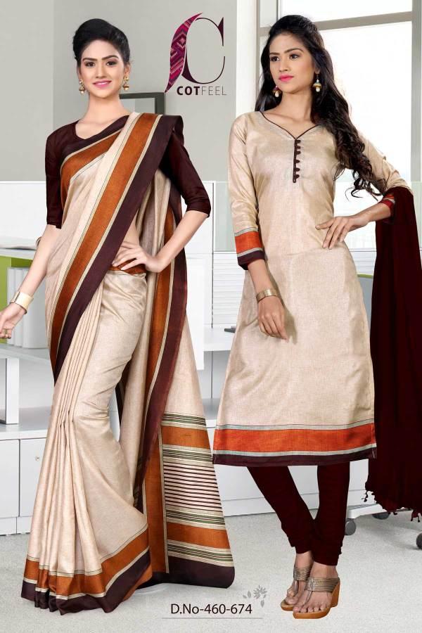 beige-and-coffee-simple-uniform-saree-salwar-combo-460-674
