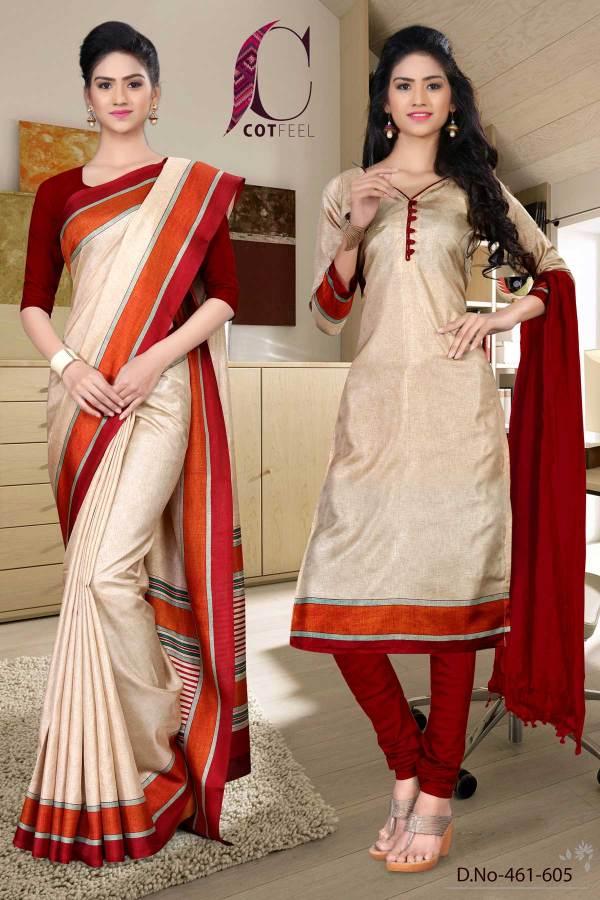 beige-and-maroon-hotel-uniform-saree-salwar-combo-461-605