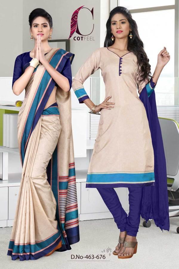beige-and-navy-blue-fancy-uniform-saree-salwar-combo-463-676