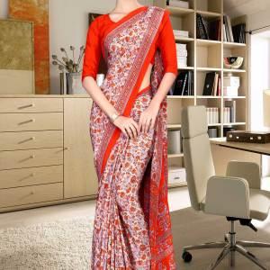 beige-and-orange-italian-crepe-silk-office-uniform-saree-536