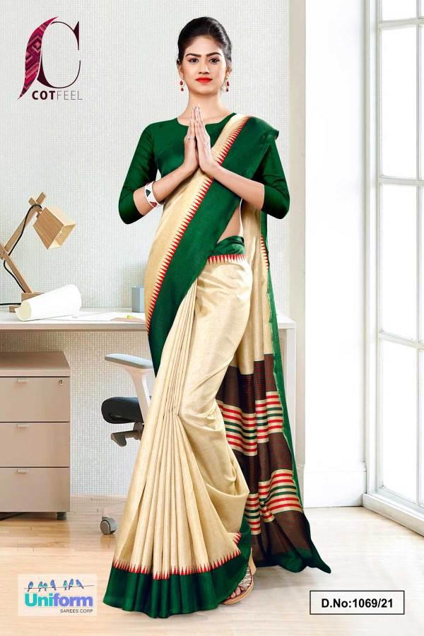 beige-bottle-green-gala-border-premium-polycotton-cotfeel-saree-for-annual-function-uniform-sarees-1069-21