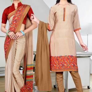 beige-brown-italian-crepe-uniform-saree-salwar-combo-391