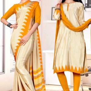 beige-musterd-premium-italian-silk-crepe-uniform-sarees-salwar-combo-for-school-teachers-1609-c
