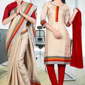 beige-orange-black-border-tripura-cotton-uniform-saree-salwar-combo-385