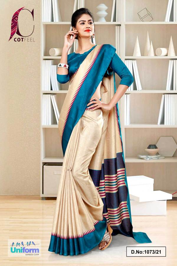 beige-peacock-blue-gala-border-premium-polycotton-cotfeel-saree-for-hospital-uniform-sarees-1073-1073-21