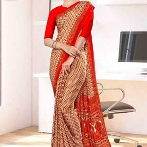 beige-red-small-print-premium-italian-silk-crepe-uniform-sarees-for-students-1056-21
