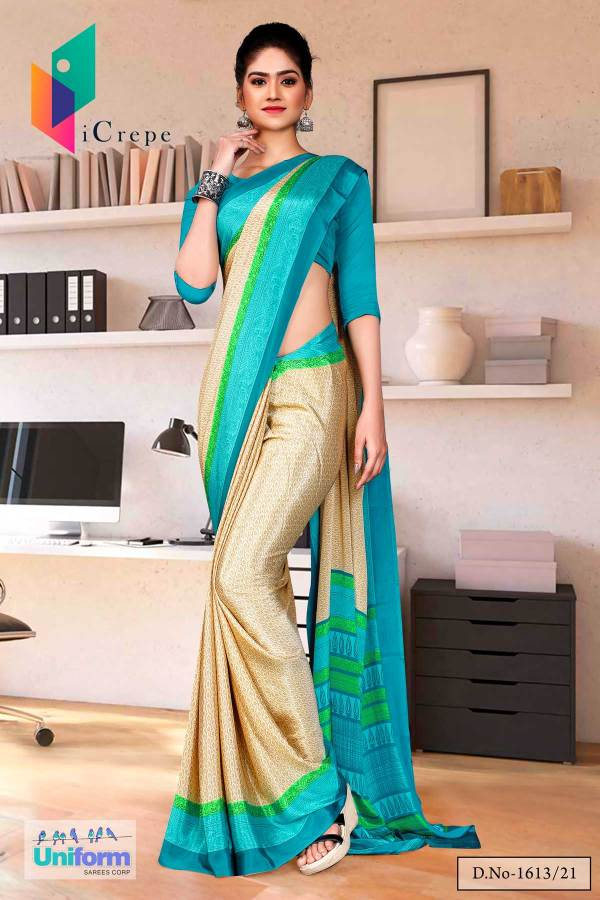 beige-sea-green-premium-italian-silk-crepe-uniform-sareefor-annual-function-1613