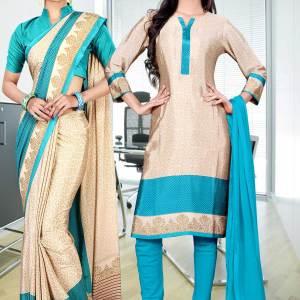 beige-sky-blue-italian-crepe-uniform-saree-salwar-combo-402