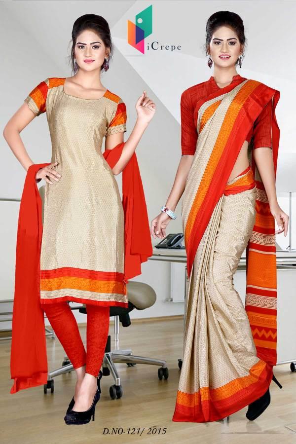 beige-with-orange-border-italian-crepe-uniform-saree-combo-121