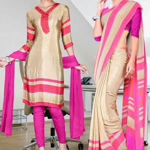 beige-with-pink-border-italian-crepe-uniform-saree-salwar-combo-113