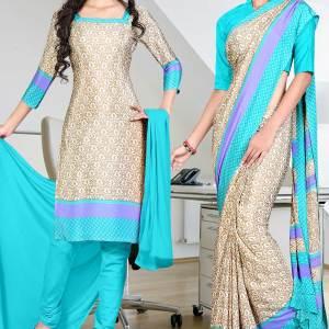 beige-with-sky-blue-border-italian-crepe-uniform-saree-salwar-combo-154