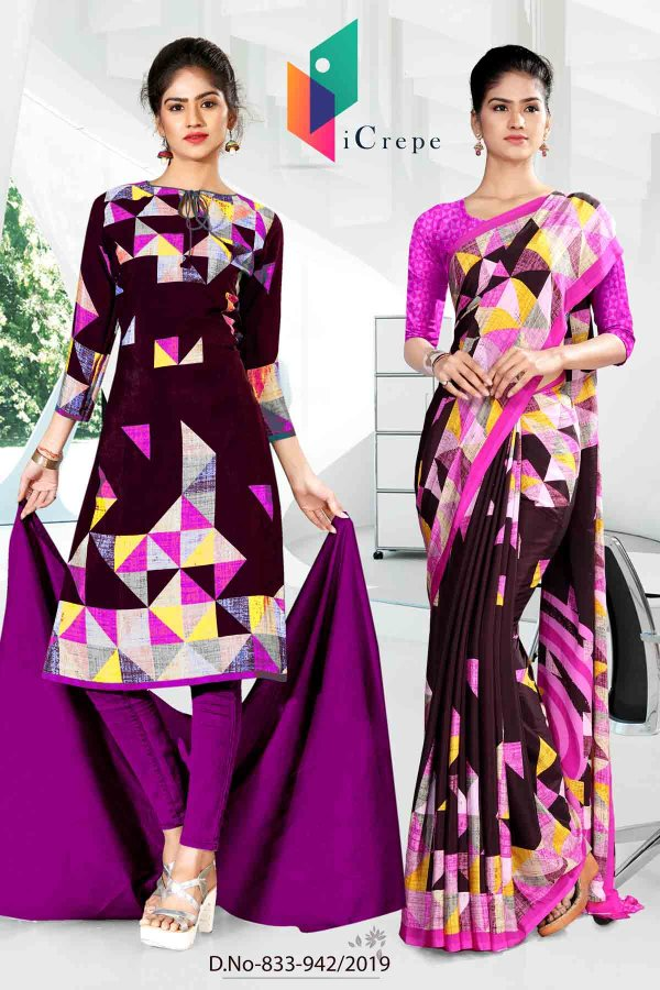 black-and-purple-icrepe-silk-institute-uniform-saree-salwar-combo-833-942