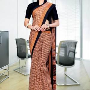 black-brown-georgette-uniform-saree-356-17