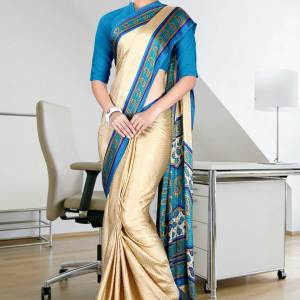 beige-and-turquoise-jacquard-crepe-taj-hotel-uniform-sarees-47