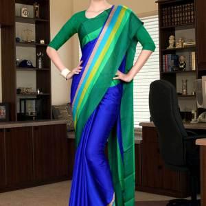 blue-and-green-italian-crepe-silk-hospital-uniform-saree-513