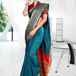 blue-and-orange-craftly-cotton-institute-uniform-saree-805