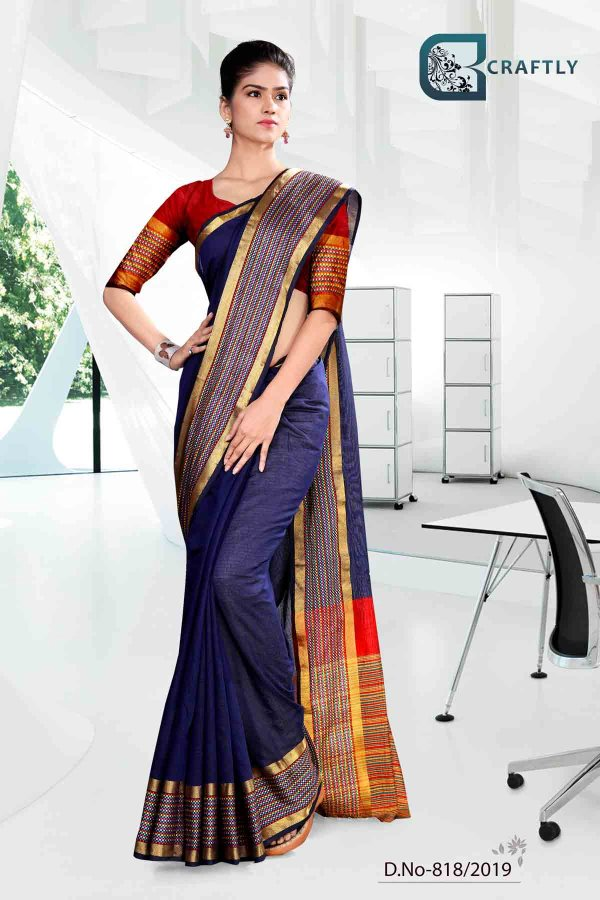 blue-and-yellow-with-orange-color-craftly-cotton-corporate-uniform-saree-818-818