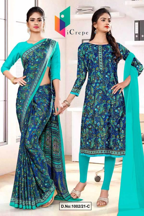 blue-green-premium-paisley-print-italian-crepe-saree-salwar-combo-for-teachers-uniform-sarees-1002-C