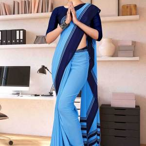 blue-navy-blue-premium-georgette-plain-border-housekeeping-uniform-sarees-for-support-staff-1634