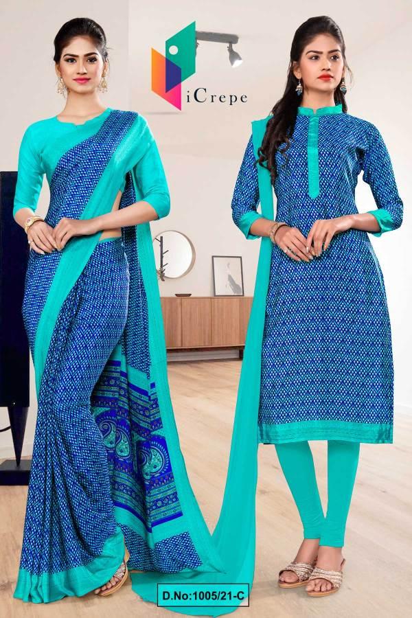 blue-sea-green-premium-italian-silk-crepe-saree-salwar-combo-for-institution-uniform-sarees-1005-C