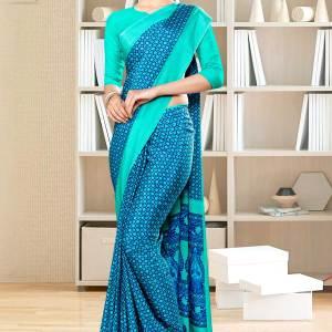 blue-sea-green-small-print-premium-italian-silk-crepe-saree-for-jewellery-showroom-uniform-sarees-1025-21