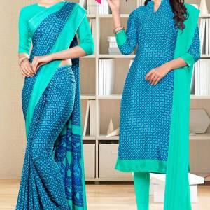 blue-sea-green-small-print-premium-italian-silk-crepe-saree-salwar-combo-for-jewellery-showroom-uniform-sarees-1025-C