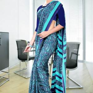 blue-with-border-italian-crepe-uniform-saree-11