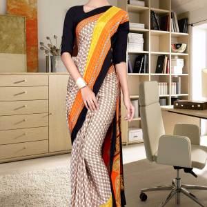 brown-and-black-italian-crepe-silk-stylish-uniform-saree-521