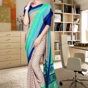 brown-and-blue-italian-crepe-silk-ladies-uniform-saree-524