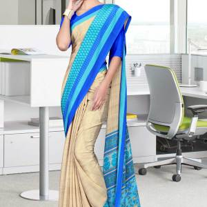 brown-and-blue-italian-crepe-silk-staff-uniform-saree-517