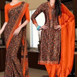 brown-and-orange-italian-crepe-silk-hotel-uniform-saree-salwar-combo-547-624