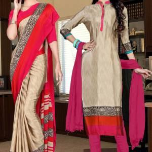 brown-and-pink-italian-crepe-silk-simple-uniform-saree-salwar-combo-528-679