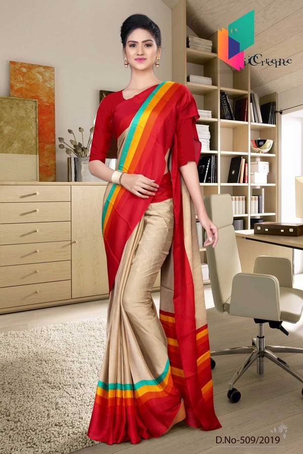 brown-and-red-italian-crepe-silk-air-hostess-uniform-saree-509