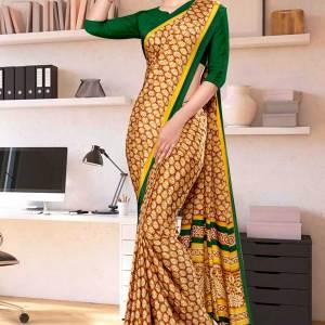 brown-bottle-green-premium-italian-silk-crepe-saree-for-annual-function-uniform-sarees-1036-21