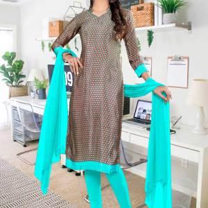 brown-sea-green-paisley-print-premium-italian-silk-crepe-chudidar-for-staff-uniform-sarees-01010