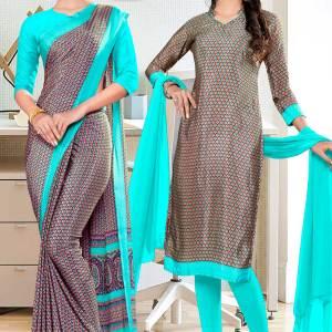brown-sea-green-paisley-print-premium-italian-silk-crepe-saree-chudidar-combo-for-staff-uniform-sarees-1010-C